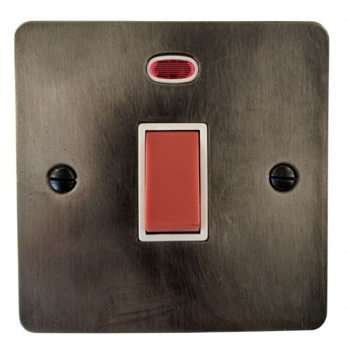 G&H FSL46W Flat Plate Slate 45 Amp DP Cooker Switch & Neon Single Plate